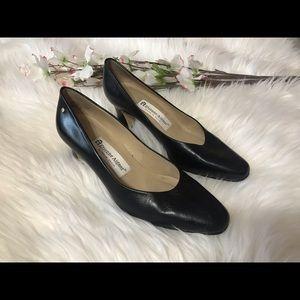 "Etienne Aigner ""Taylor"" Black Leather Heels"